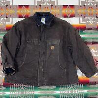 Vintage Men's Carhartt C26 Brown Quilt Lined Chore Jacket Size 4XL Workwear