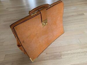 Vintage honey brown leather frame top briefcase