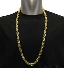 "18K GOLD PLATED RUN DMC HIP HOP ROPE CHAIN, DOOKIE, 8mm x 30"" STAINLESS STEEL"
