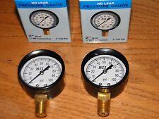 "2 LEAD FREE BRASS 100 PSI 1/4"" Pressure gauges water tank submersible jet pump"