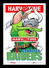 Canberra Raiders Mascot Limited Edition Harv Time Print Framed Harvey