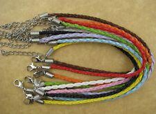 FREE SHIP 10pcs Mix Colour Leather charm  Bracelets 3mm F0662