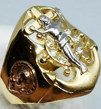 GOLD 14k Mens Ring anchor JESUS Mary real solid Simulated diamond 11 9 10 12 13