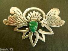 Mexico Sterling Silver Pin w/ Carved Dark Jade Head and elaborate surround