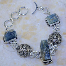 BEAUTIFUL NEW GENUINE BLUE KYANITE ORNATE 925 SILVER AMULET BRACELET 71/4-8 1/4""