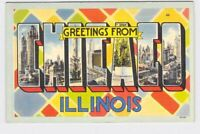 BIG LARGE LETTER VINTAGE POSTCARD GREETINGS FROM ILLINOIS CHICAGO