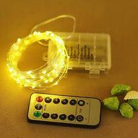 Micro Draht Lichterkette mit Fernbedienung und Timer - 50 LED Kaltweiß 1Stk DE