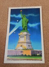 1950's New York Postcard Statue Of Liberty at Night Unposted Linen finish.  xc1