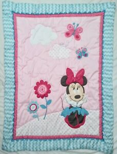 "Vtg Minnie Mouse Disney Baby Blanket Crib Comforter Butterflies Flowers 32""x 41"""