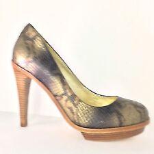 Elaine Turner Women's Bronze Snake-Embossed High Heels Leather Pumps Size 8.5