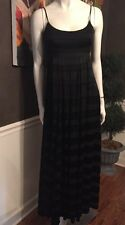 J Crew Silk Chiffon Ribbon  Long Dress  black gown formal bridesmaid Size 2