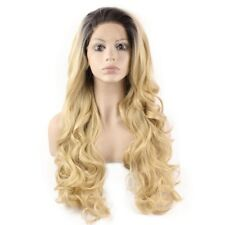 Long Wavy Two Tone Blonde Heat Friendly Synthetic Lace Front Ombre Wig