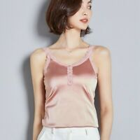 Lady Lace Satin Strap Vest Camisole Faux Silk Sleeveless Top Shirt Tank Cami Tee