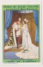 """théâtral CARTE POSTALE - Prince de Galles Théâtre """" King of cadonia """" ANNONCE"""