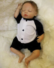 Reborn Baby Doll OtardDolls Soft Vinyl Silicone with Panda Costume 18in