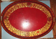 "Antique Toleware Tole Ware Hand Painted Large 29"" x 22"" Tray Flowers Tin Platter"