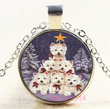 Christmas Dog Cabochon Silver/Bronze/Black/Gold Chain Pendant Necklace #7501