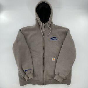 Men's CARHARTT Sherpa Fleece Lined Hoodie Zip Hooded Jacket Large Company Logo
