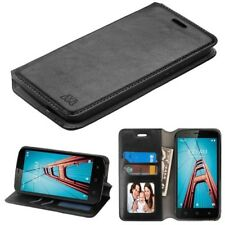 FOR COOLPAD DEFIANT / 3632 BLACK WALLET LEATHER SKIN COVER CASE + SCREEN FILM