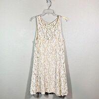 Free People Miles of Lace Sleeveless Mini Dress Ivory Lined Boho Size Large