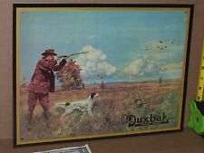HUNTER & BIRD DOG in Field During Fall Hunt - Wearing DUXBAK WORK CLOTHES - Sign