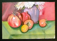 Orig. Impressionistic Watercolor Still Life w/ Fruit & Flowers by J. Wootten