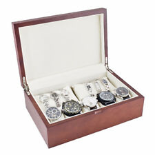 VINTAGE WOOD FINISH SOLID TOP DISPLAY STORAGE WATCH CASE HOLDS 10 WATCHES