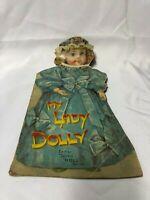 art print~DOLLY/'S NEW DRESS~Brundage~Victorian little girl doll vtg repro 18x22