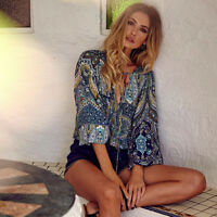 Women's Floral Print Boho Long Sleeve Vintage V-Neck Blouse Loose Tops T Shirt