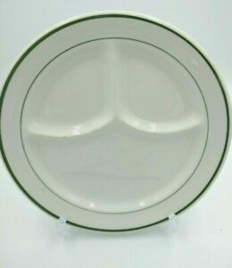 Vintage IROQUOIS CHINA Divided Plate Restaurant Ware Green Double Band