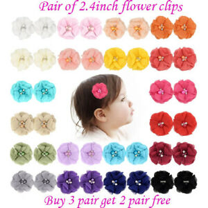 """2.4"""" Flower Baby Girls Ribbon kids Hair clip Solid Bows clips School bow Pair"""