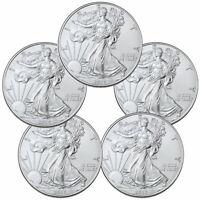 Lot of 5 - 2020 1 oz American Silver Eagle $1 Coins GEM BU Delay SKU59438