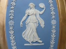 Wedgwood Blue Jasper Ware Dancing Hour Bert Bentley Framed Oval Plaque (c.1890s)