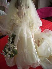 "Danbury Mint Porcelain Princess Diana Bride Wedding Doll 19"" IVORY W/DIANA BOOK"