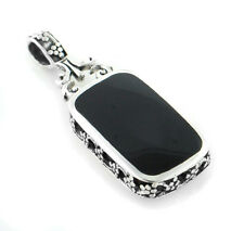 Black Onyx and Turquoise Reversible Sterling Silver Slide Pendant