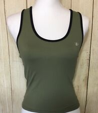 SOSPORTY.COM Women's Athletic Top Olive Black Trim Sz M Built In Shelf Bra (8B)