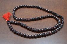 108 PCS RED WOOD ROUND MALA PRAYER BEADS 10MM #5086