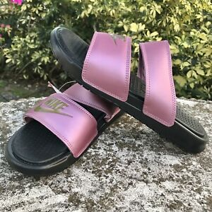 Nike Benassi Duo Ultra Slide Pink/Black 819717-007 Women's Slides Sz 8 NEW