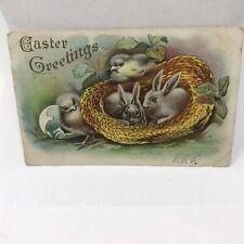 Vintage Easter 1908 Postcard Greetings Paris Illinois