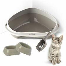 Large Corner Cat or Kitten Litter Tray + 2 Bowls + Scoop Removable Rim Toilet XL