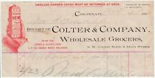 1893 Invoice Colter & Co. Wholesale Grocers Corner 6th & Main Cincinnati, Ohio