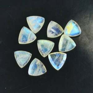 Lot Natural Rainbow Moonstone 10X10 mm Trillion Faceted Cut Loose Gemstone