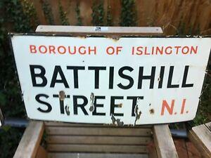 VINTAGE 1930'S PORCELAIN ENAMEL LONDON ROAD SIGN BATTISHILL STREET N1 ISLINGTON