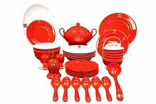 NEW Auratic 36-Piece Chinese Dinner Set Red Glaze, Serendipity MISSING 5 PIECES