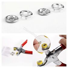 100 Pcs Prong Ring Press Studs Snap Popper Fasteners 9.5mm Silver + Pliers UK