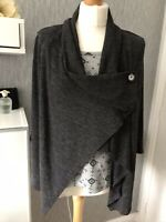 M&S Collection Size 14 Mock Fronted Wrap Across Grey Cardigan With 3/4 Sleeves
