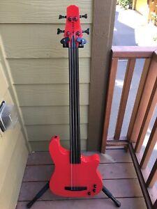 2016 Kiesel Carvin AC40 Fretless Acoustic-Electric Bass Guitar Ferrari Red A++