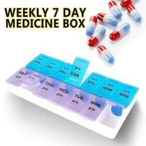 Weekly Pill Box Organizer Twice a Day 7 day AMPM Organizer Case Medicine Storage