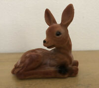 Vintage Flocked Fawn Deer Laying Down Brown 5 Inches Tall