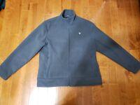 BMW Fleece heavy gray Jacket Full Zip Mens Large with bmw logo